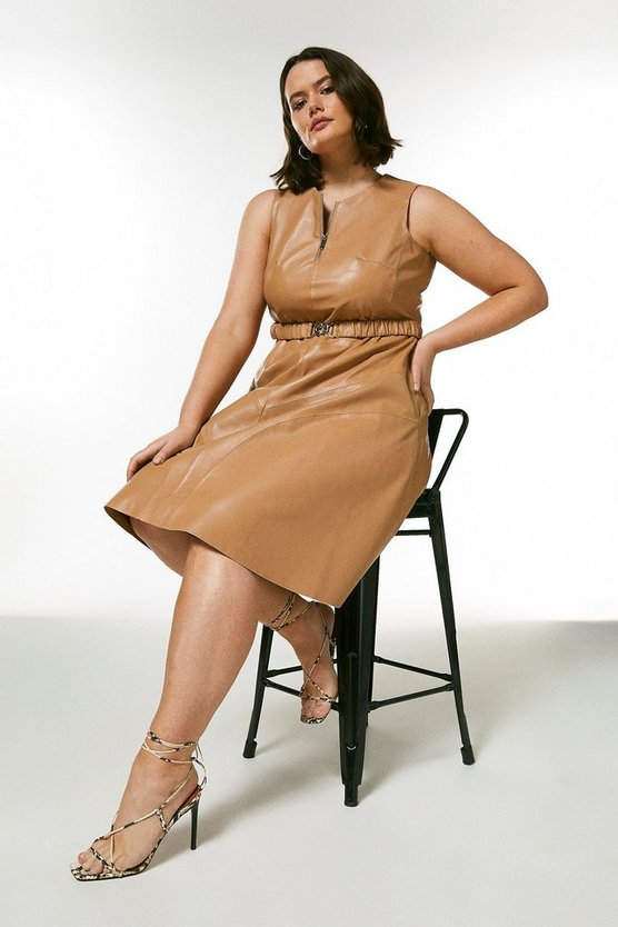 Tan Curve Leather Belted Midi Dress