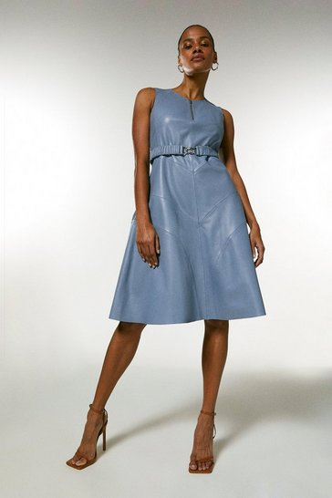 Pale blue Leather Belted Midi Dress
