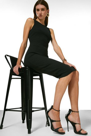 Black Rib Racer Bodycon Dress