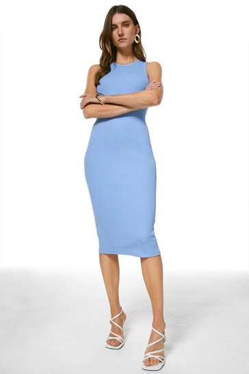 Blue Rib Racer Bodycon Dress