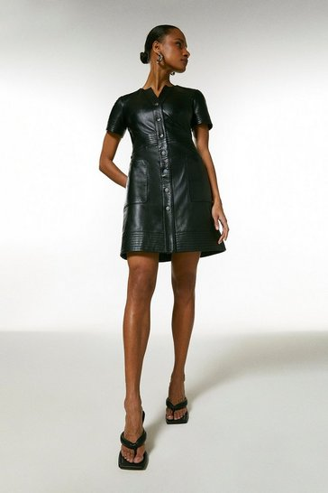 Black Leather Popper Front  Multi Stitch  Dress