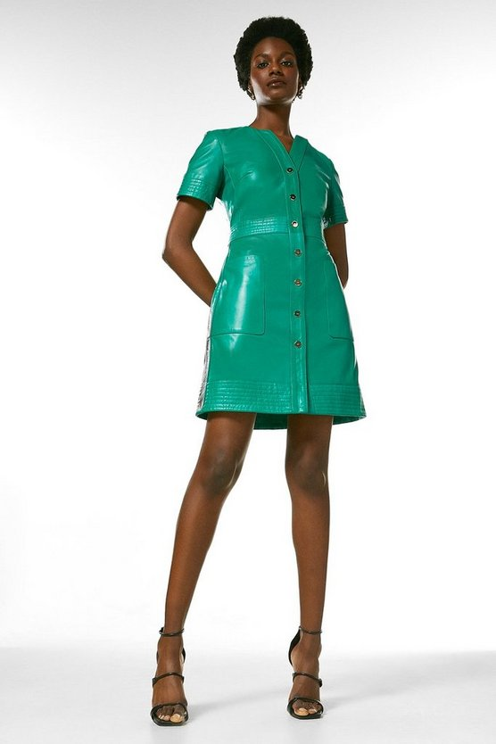 Bright green Leather Popper Front  Multi Stitch  Dress