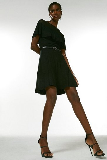 Black Jersey Ruffled Mesh Skater Dress