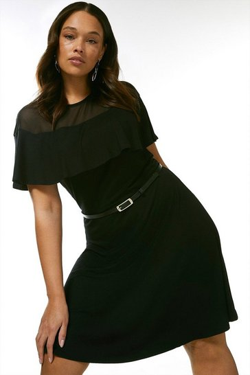 Black Curve Jersey Ruffled Mesh Skater Dress