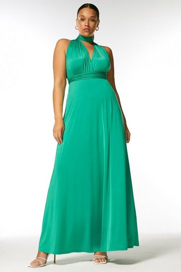 Bright green Curve Multiway Slinky Jersey Maxi Dress