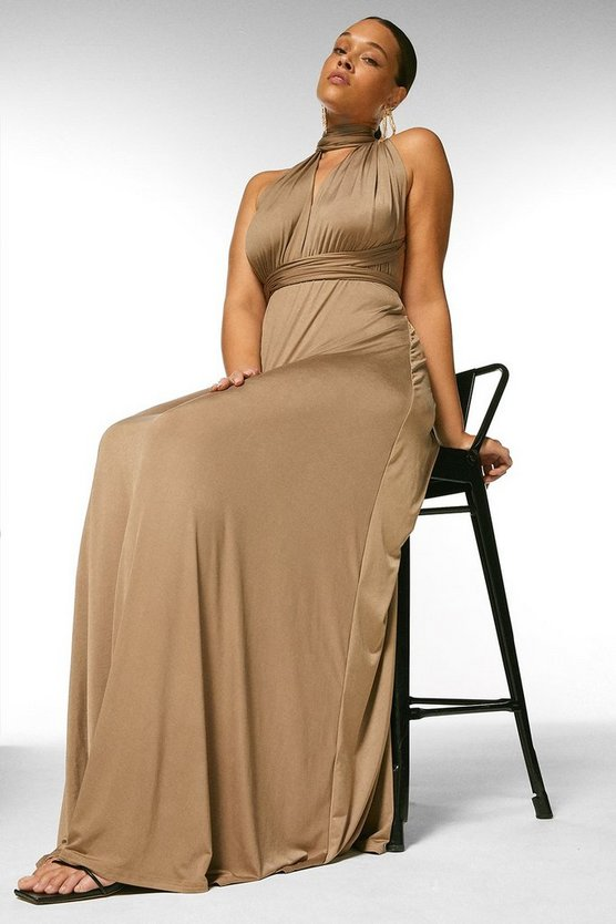 Mink Curve Multiway Slinky Jersey Maxi Dress