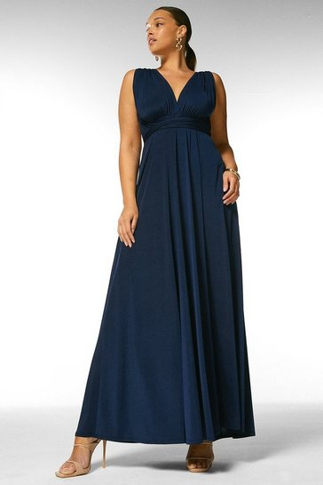 Navy Curve Multiway Slinky Jersey Maxi Dress