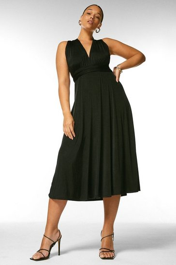Black Curve Multiway Slinky Jersey Midi Dress