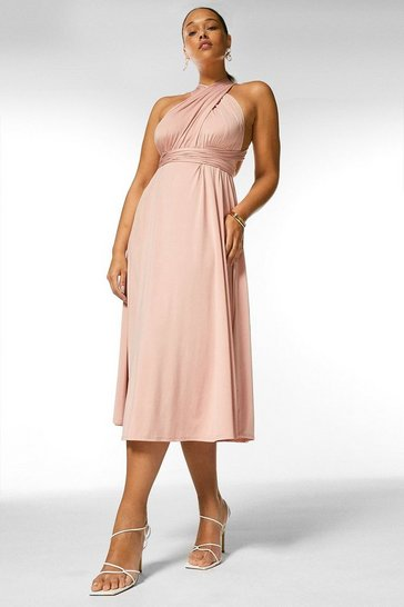 Blush Curve Multiway Slinky Jersey Midi Dress