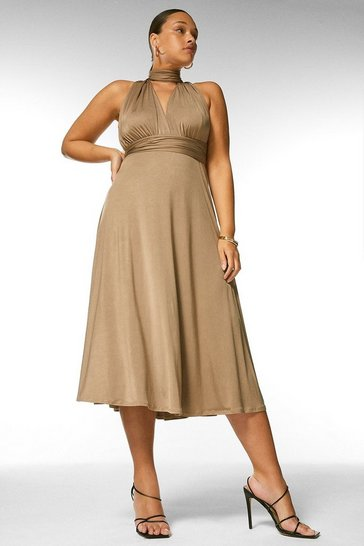 Mink Curve Multiway Slinky Jersey Midi Dress