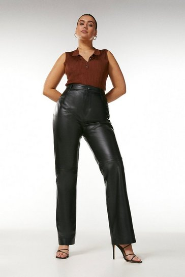 Black Curve Leather Five Pocket Straight Leg Jean