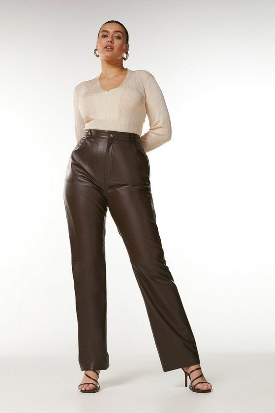 Chocolate Curve Leather Five Pocket Straight Leg Jean
