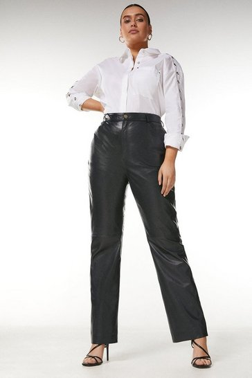 Navy Curve Leather Five Pocket Straight Leg Jean