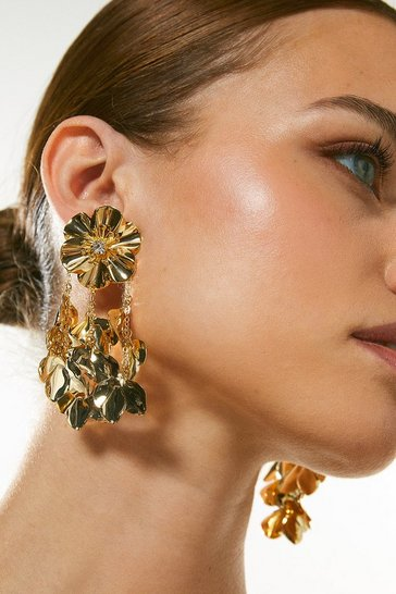 Gold Plated Statement Flower Earrings