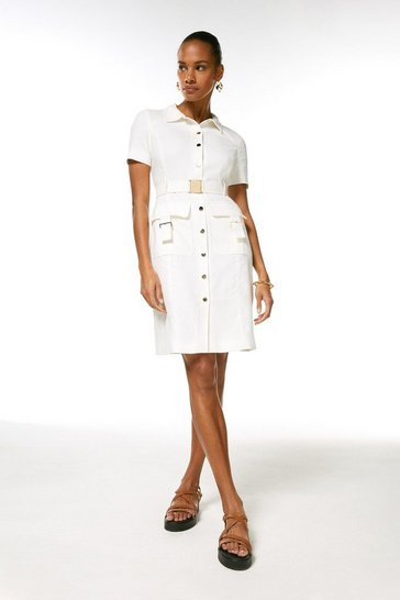 Ivory Relaxed Tailored Utility Dress