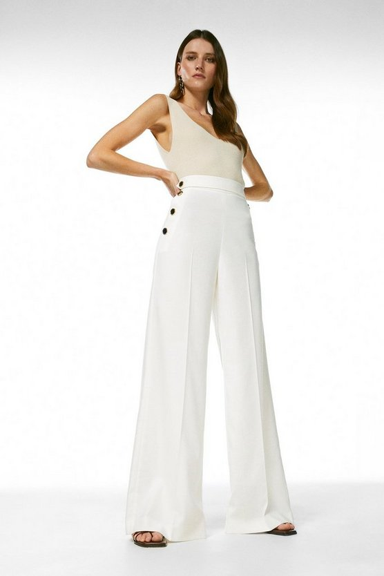 Ivory Relaxed Tailored Button Wide Leg Trousers