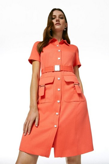 Coral Relaxed Tailored Utility Dress