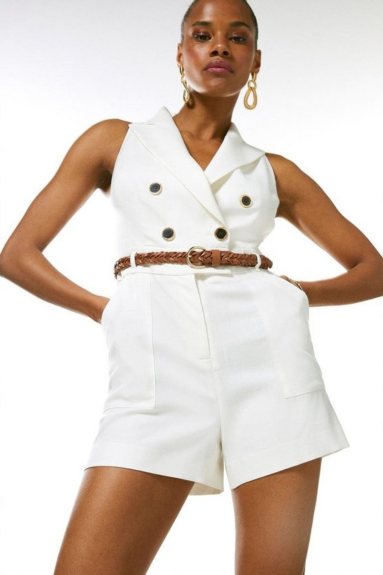 Ivory Relaxed Tailored Db Playsuit
