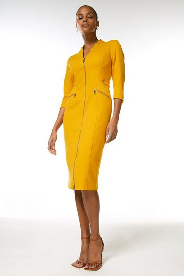 Ochre Forever Panelled Zip Waist Pencil Dress