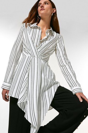Blackwhite Stripe Viscose Drape Tunic