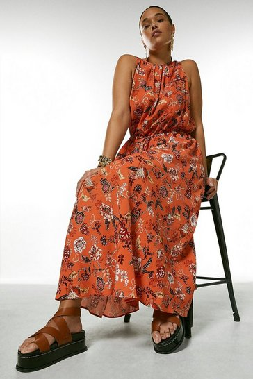 Orange Curve Batik Floral Drawstring Midaxi Dress