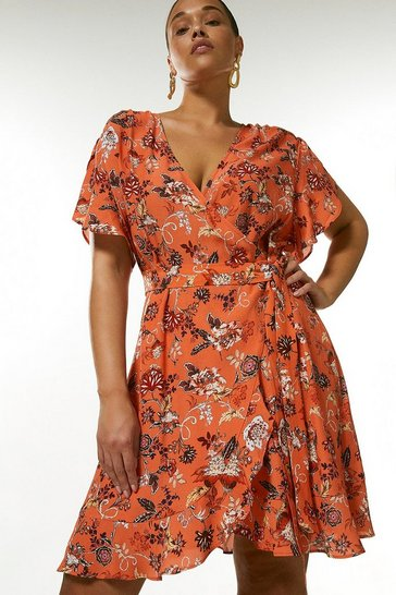 Orange Curve Batik Floral Short Wrap Dress