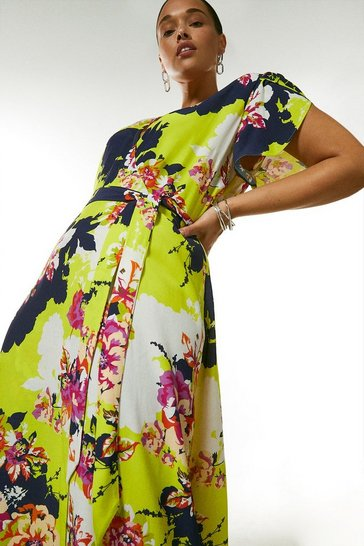 Yellow Curve Bold Floral Wrap Dress