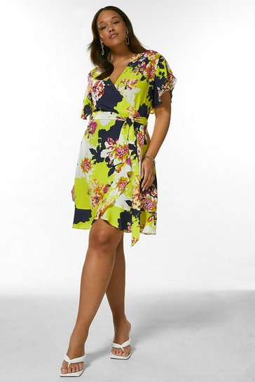 Yellow Curve Bold Floral Short Wrap Dress