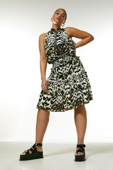 Curve Animal Print Shirred Waist Dress