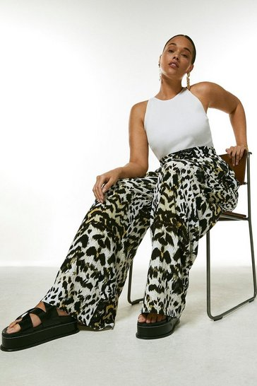 Curve Animal Print Wide Leg Trouser