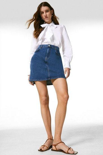 Mid wash Denim 5 Pocket Mini Skirt