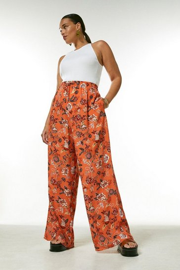 Orange Curve Batik Floral Wide Leg Trouser