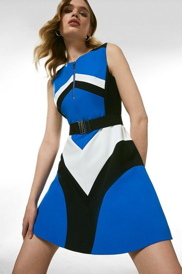 Blue Compact Stretch Colourblock A Line Dress