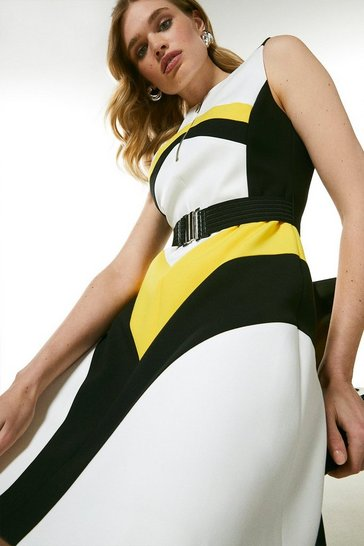 Yellow Compact Stretch Colourblock A Line Dress