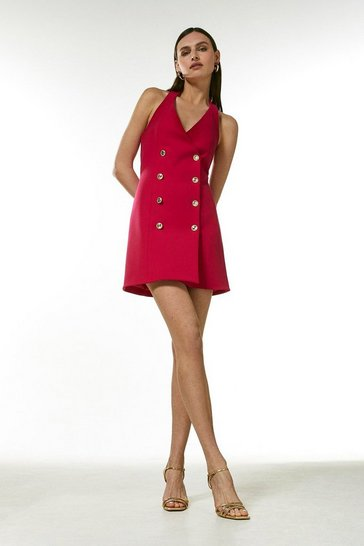 Pink Compact Stretch Military Button Halter Dress