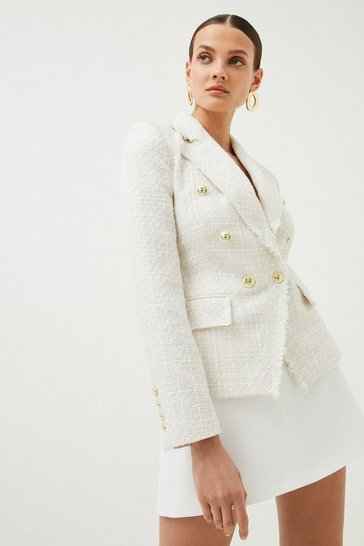 Ivory Sparkle Tweed Military Blazer