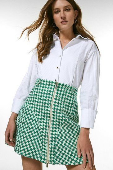 Green Check Tweed Zip Front Skirt