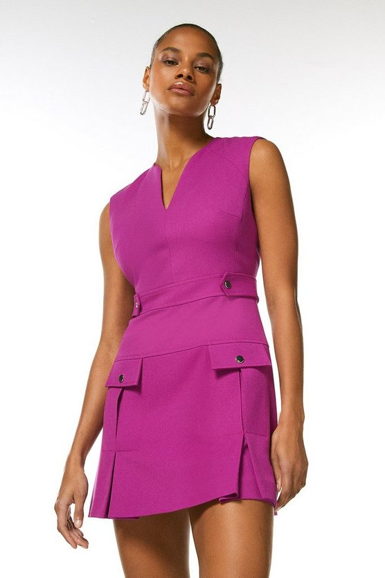 Purple Structured Crepe Pleat And Popper Dress