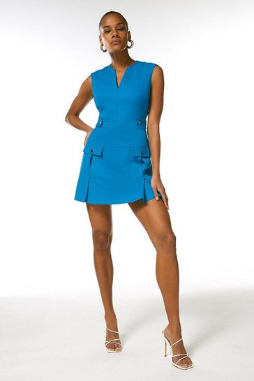 Turquoise Structured Crepe Pleat And Popper Dress