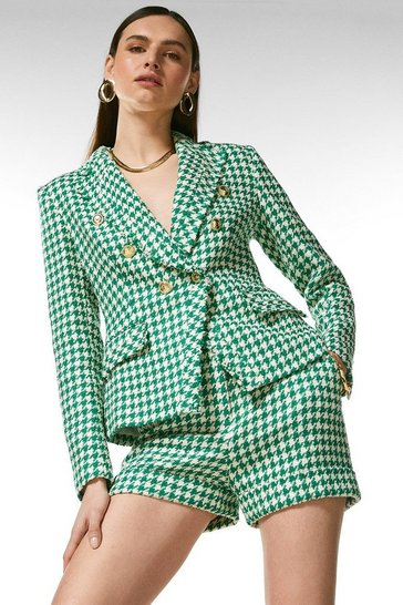 Green Check Tweed Military Blazer