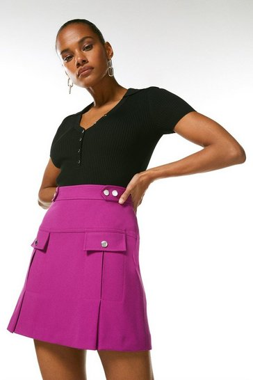 Purple Structured Crepe Pleat And Popper Skirt