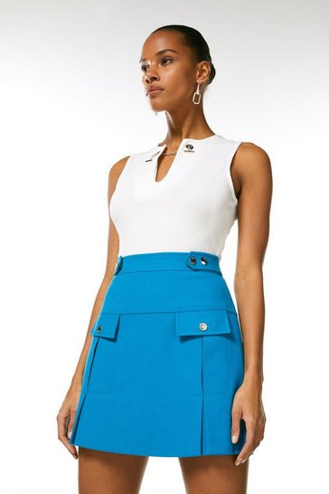 Turquoise Structured Crepe Pleat And Popper Skirt