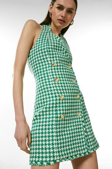 Green Check Tweed Halter Neck Button Dress