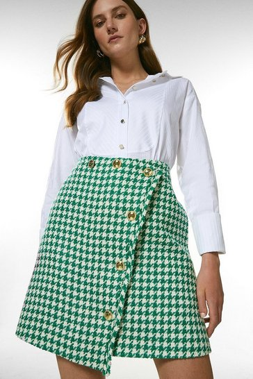 Green Check Tweed Button A Line Skirt