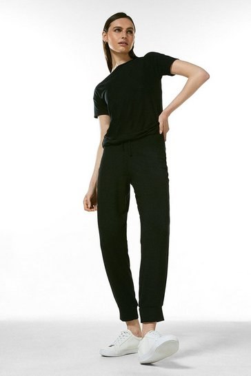 Black Lounge Viscose Jersey Cuffed Joggers