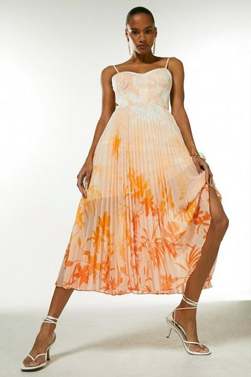 Orange Ombre Floral Pleat Bustier Midi Dress