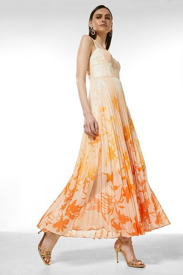 Orange Ombre Floral Pleat Bustier Maxi Dress