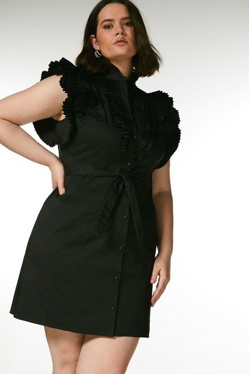 Black Curve Pleat Ruffle Belted Shirt Dress
