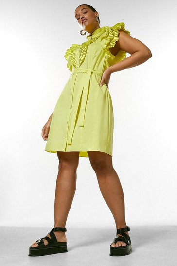 Lime Curve Pleat Ruffle Belted Shirt Dress