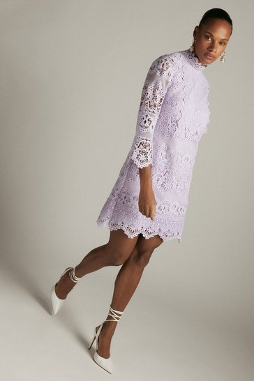 Lilac Lace Applique Short Dress